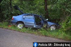 Dopravná nehoda v Žiline: vodič s 2,04 promile alkoholu v dychu skončil mimo vozovky, FOTO
