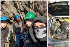 Štyria dobrovoľníci vyčistili lom v Nezbudskej Lúčke. Vyzbierali osem vriec odpadu