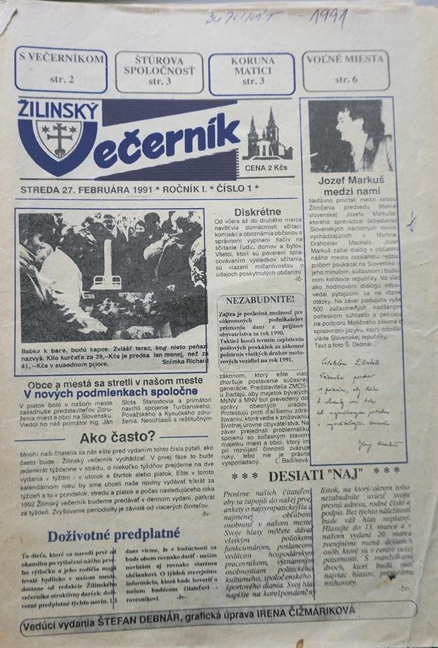 Titulná strana prvého vydania Žilinského večerníka.