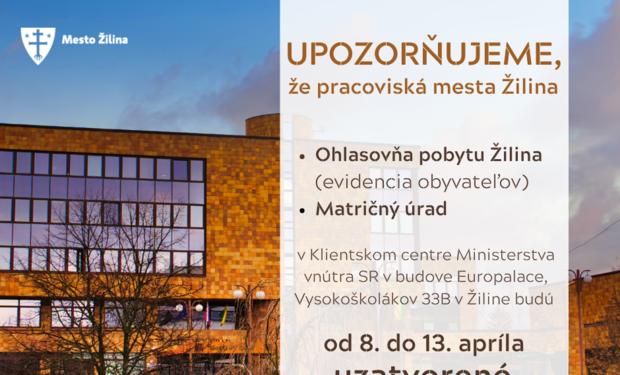 Klientské centrum zatvorené do 13.apríla