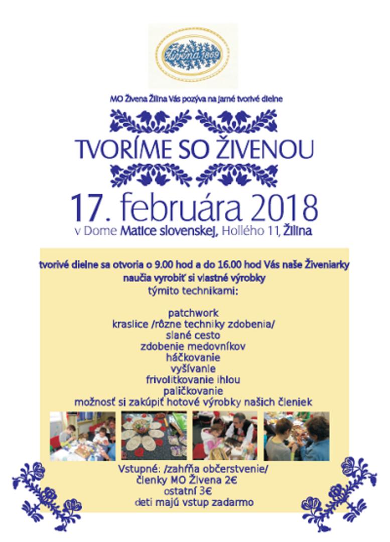 427b86982 MO Živena Žilina vás pozýva na jarné tvorivé dielne - Tvoríme so Živenou,  ktoré sa uskutoční dňa 17. februára 2018 v Dome Matice slovenskej, Hollého  11, ...